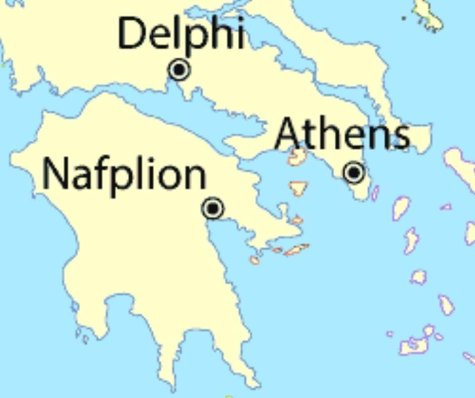 Nafplion in Greece map