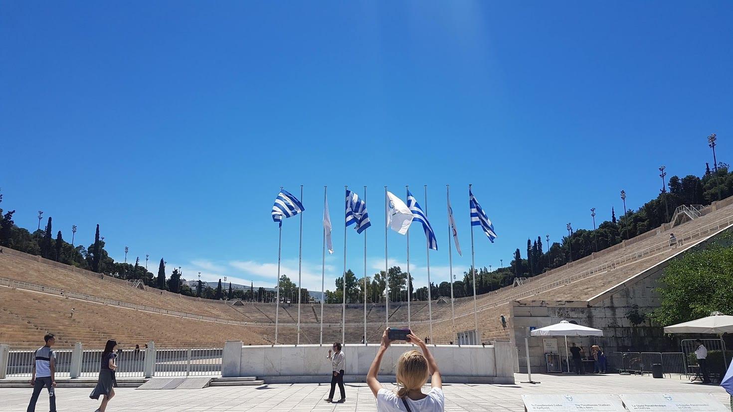 Outside the Panethenaic Stadium in Athens