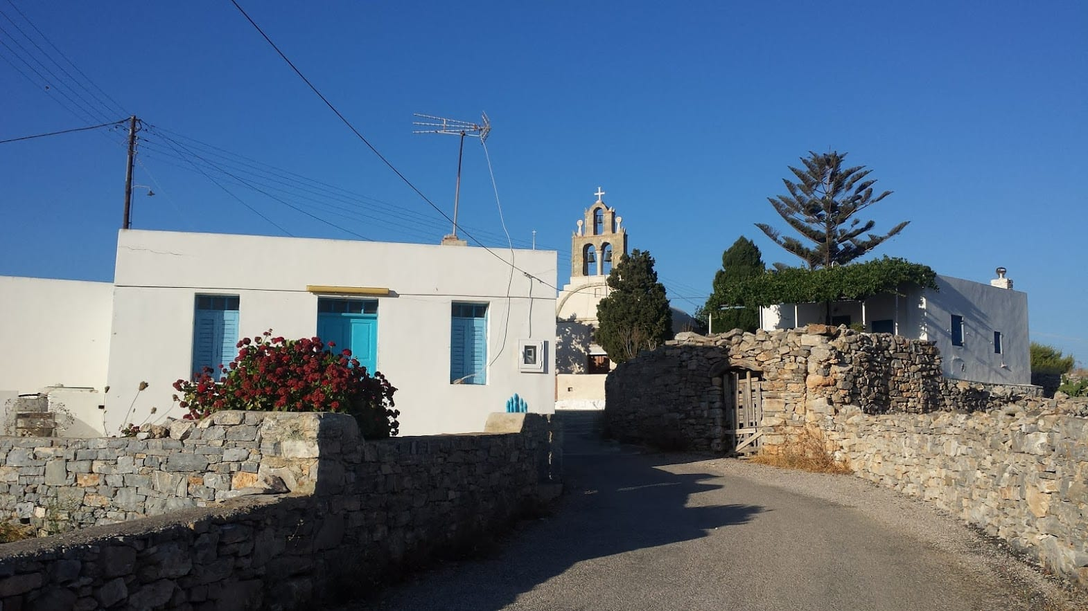Schinoussa island in Greece has the typical blue and white buildings of the Cyclades