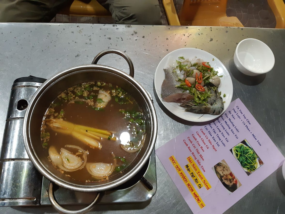 Eating at a restaurant in Con Dao Vietnam