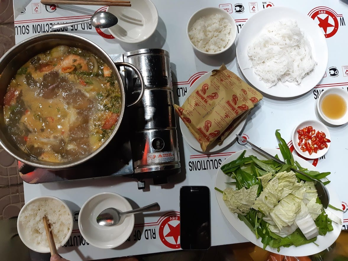 Eating seafood hotpot in Con Dao Vietnam