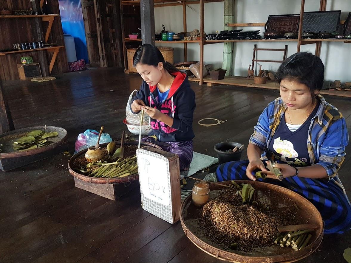 Tobacco rolling in Inle Lake, Myanmar