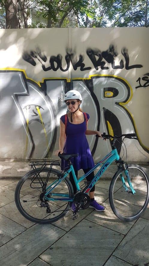 Vanessa on a bike tour of Athens Greece