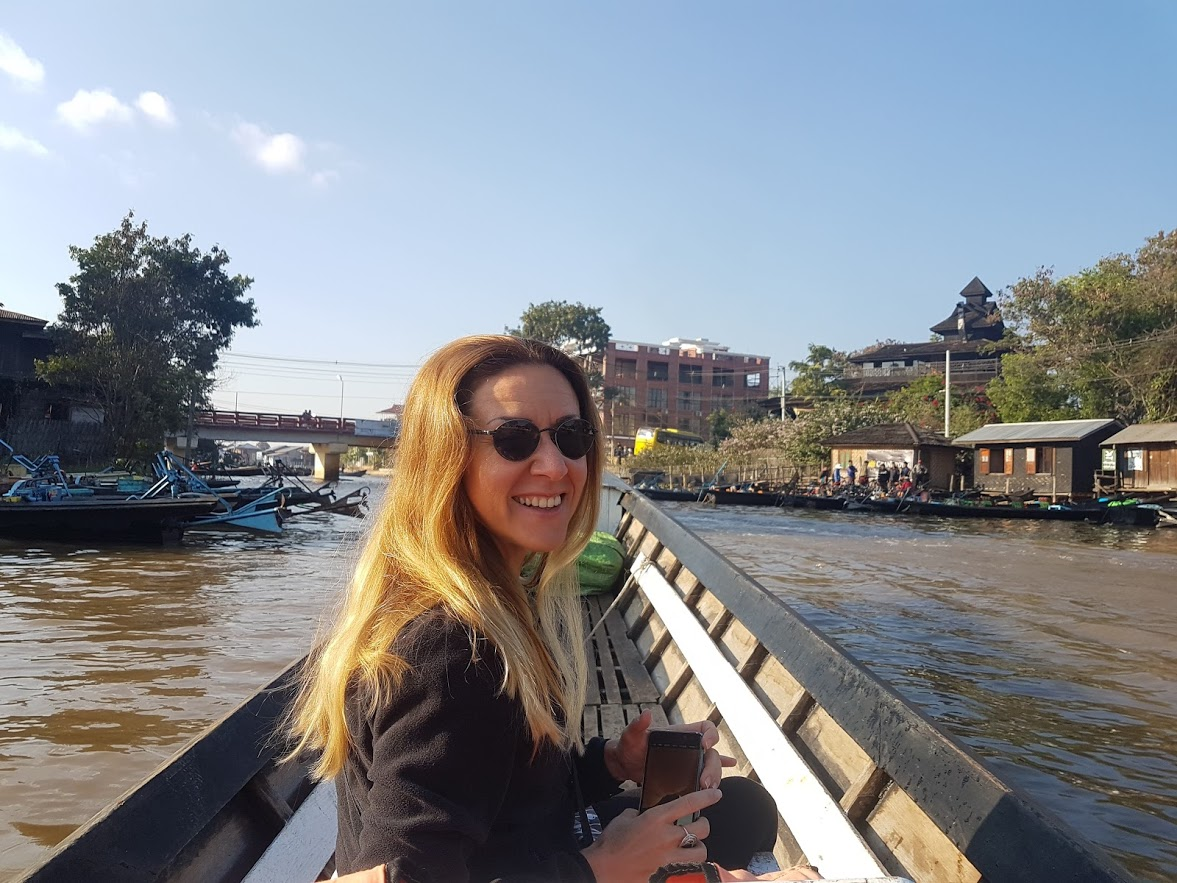 Vanessa on the Inle Boat Trip in Myanamr