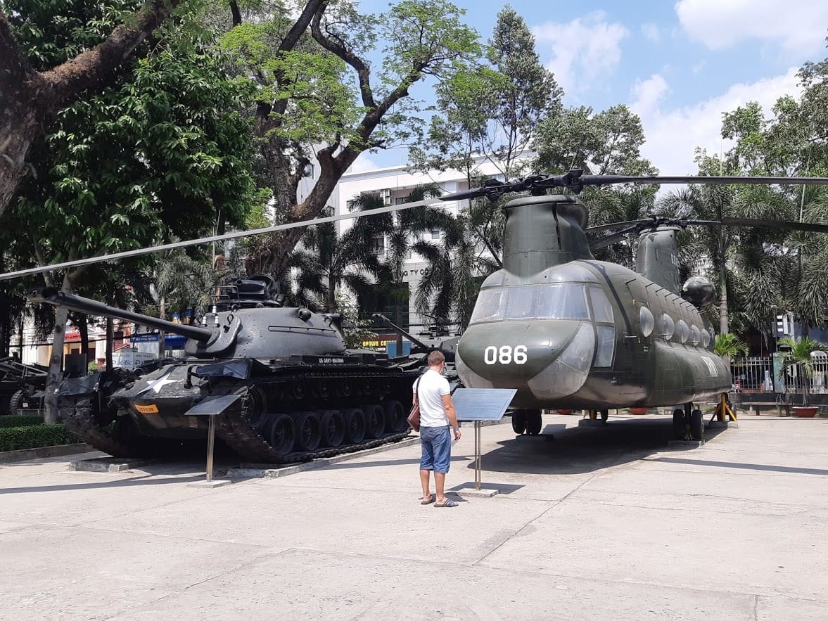 Leftover military hardware from the Vietnam War in Saigon
