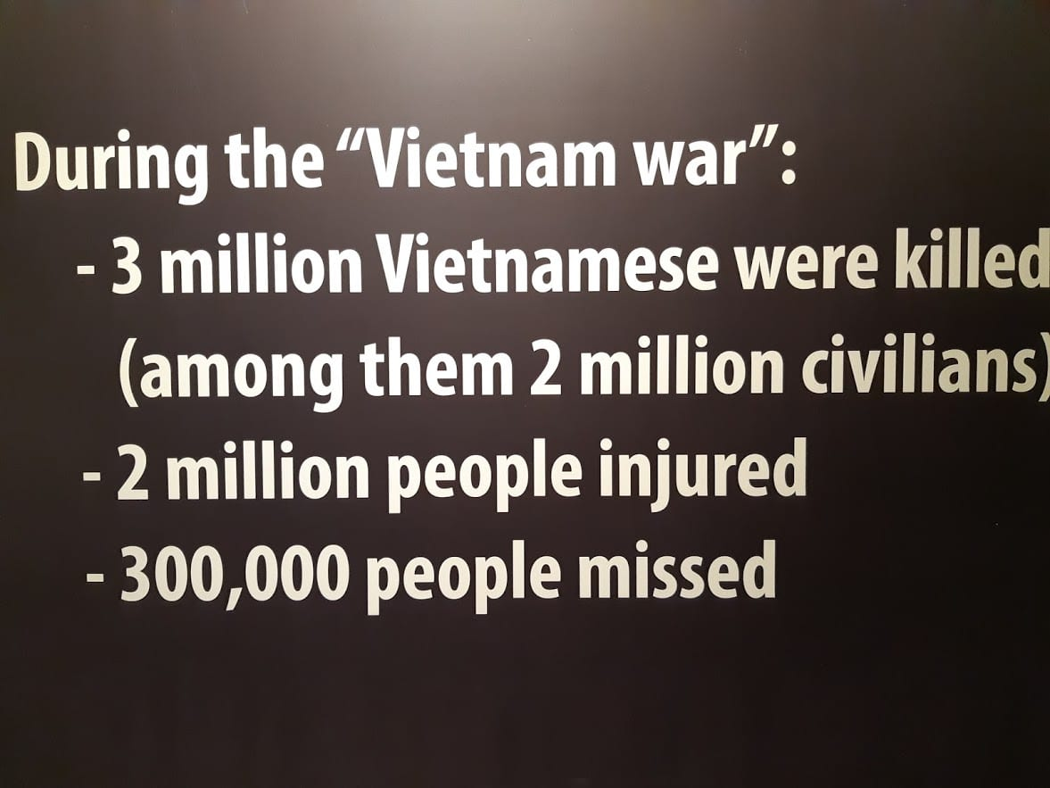 Statistics from the Vietnam War on display in Saigon