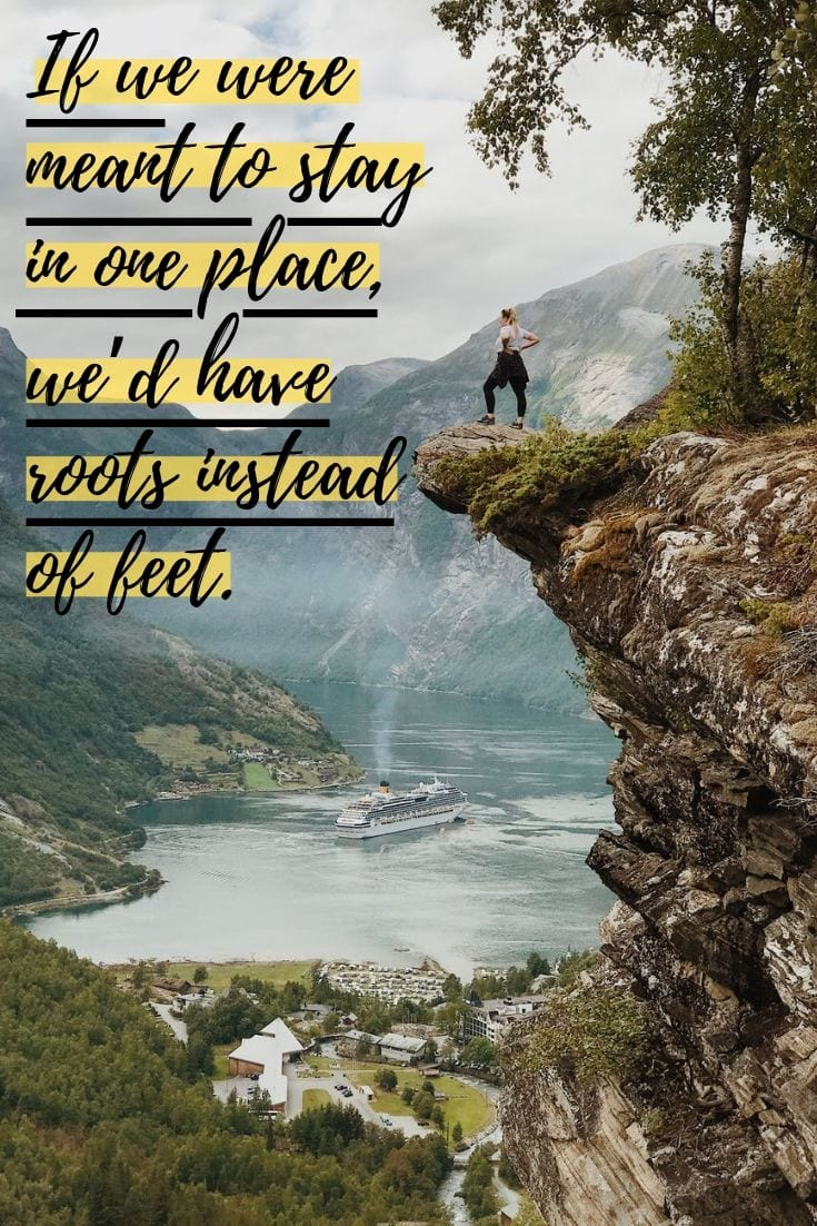 Digital Nomad Quote - If we were meant to stay in one place, we'd have roots instead of feet.