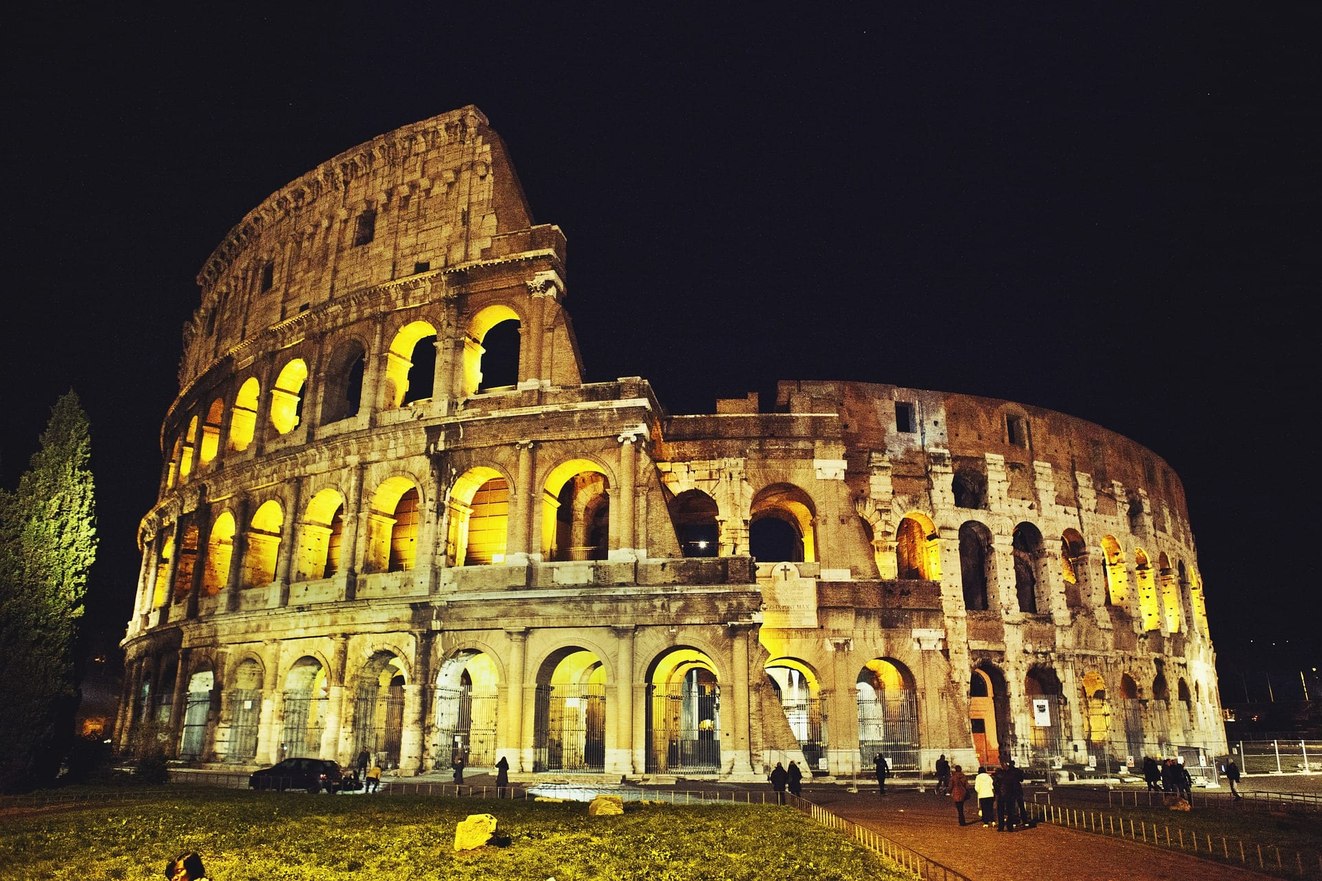 Visit the Coloseum at night during your 1 day in Rome