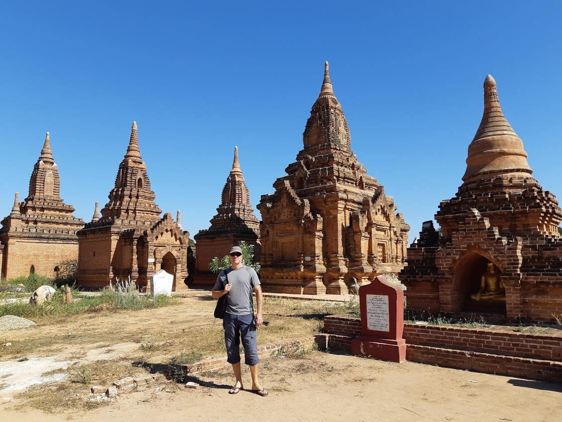 Dave Briggs standing in front of the temples in Bagan