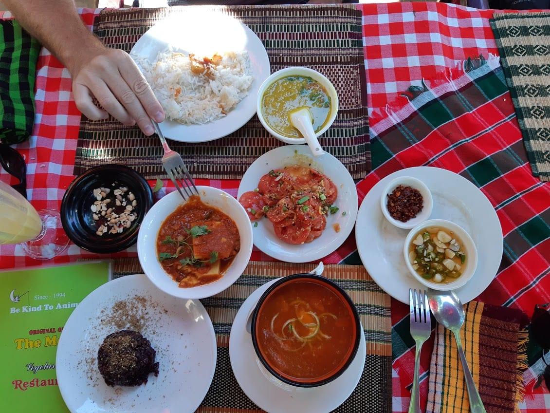 Eating some food in Bagan