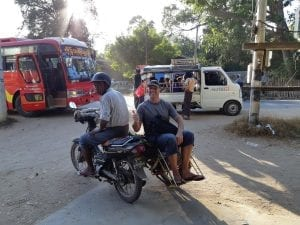 Getting around Bagan on a weird motorbike rickshaw. It actually carried two people!