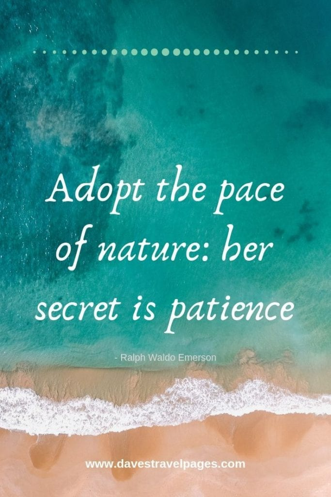 Captions about nature: Adopt the pace of nature: her secret is patience. - Ralph Waldo Emerson
