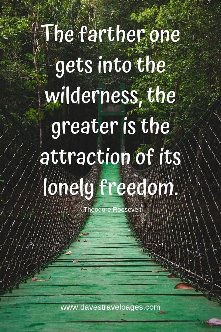 "Wilderness Quotes - ""The farther one gets into the wilderness, the greater is the attraction of its lonely freedom."""