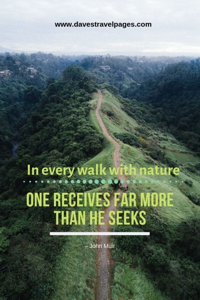 """Great quotes about walking in nature: """"In every walk with nature, one receives far more than he seeks."""" – John Muir"""