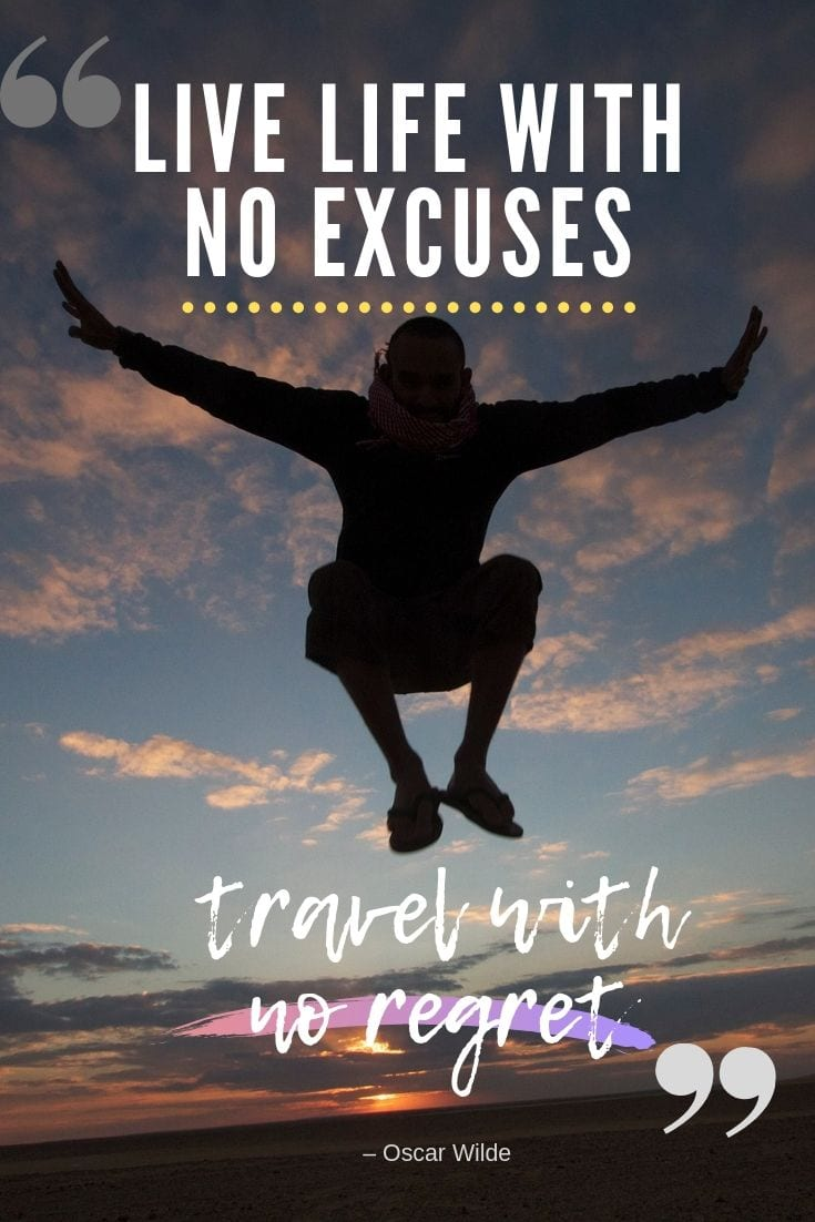 Great Oscar Wilde travel quote - Live life with no excuses, travel with no regret