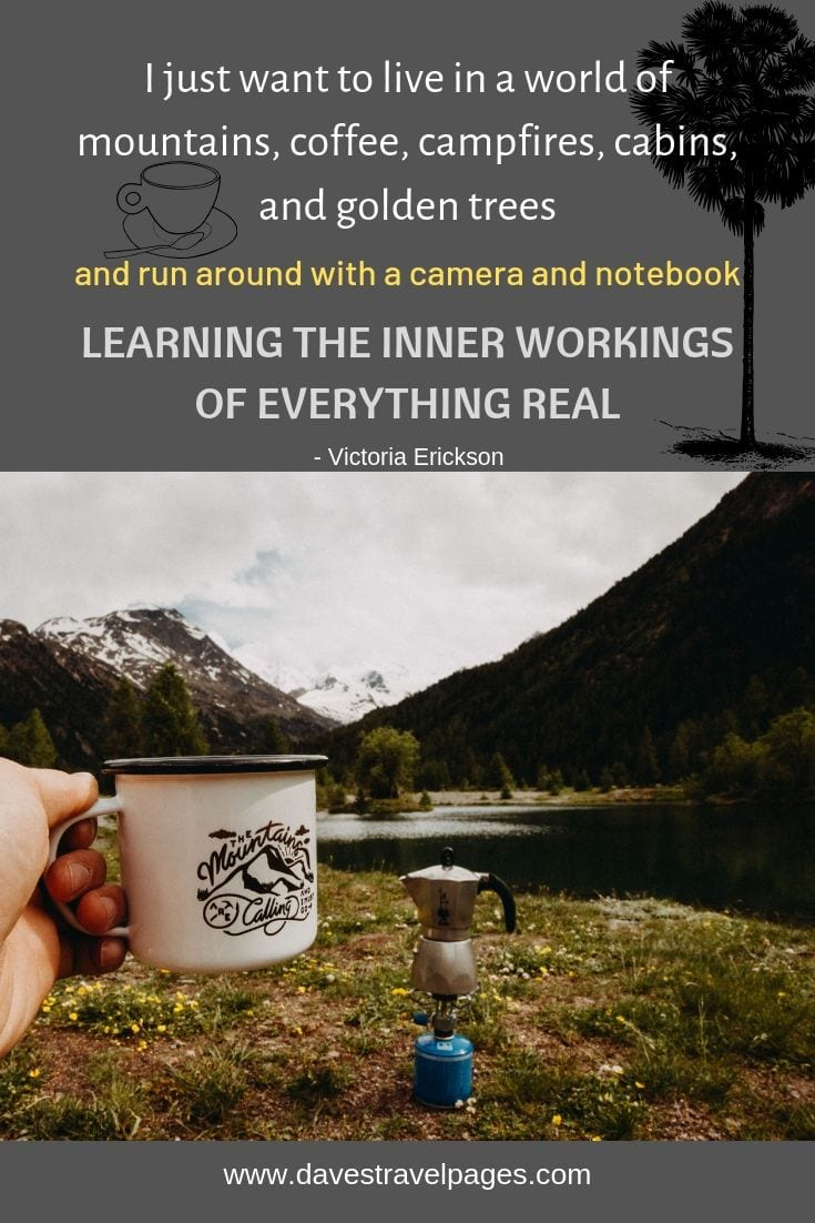 "Camping and mountains quotes - ""I just want to live in a world of mountains, coffee, campfires, cabins, and golden trees, and run around with a camera and notebook, learning the inner workings of everything real."""