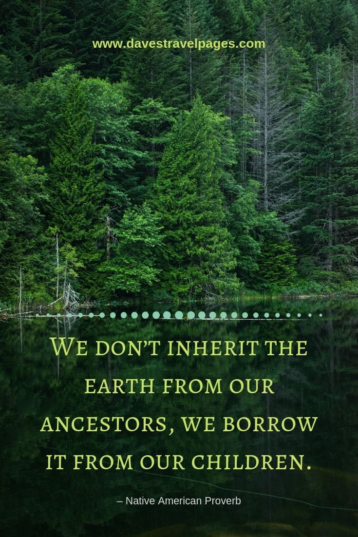 "Environmental Quotes - ""We don't inherit the earth from our ancestors, we borrow it from our children."" – Native American Proverb"