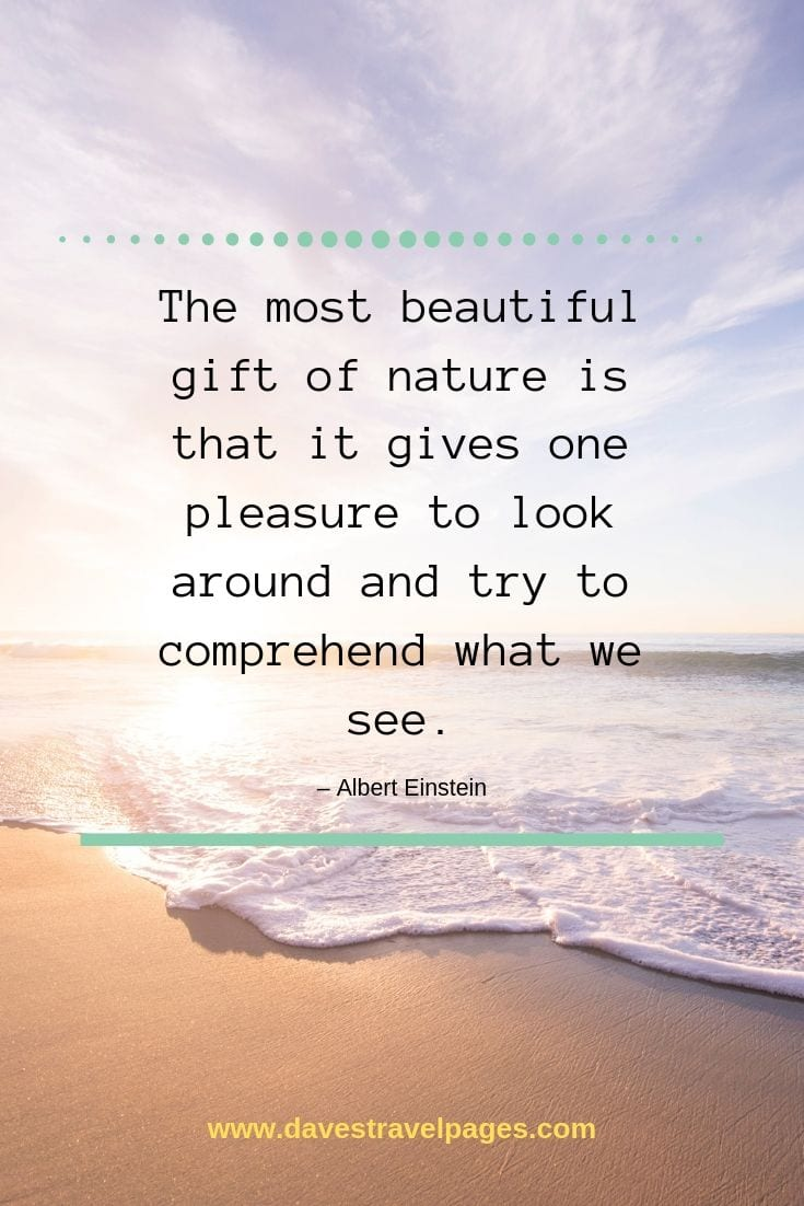 "Gift of Nature Quotes - ""The most beautiful gift of nature is that it gives one pleasure to look around and try to comprehend what we see."" – Albert Einstein"