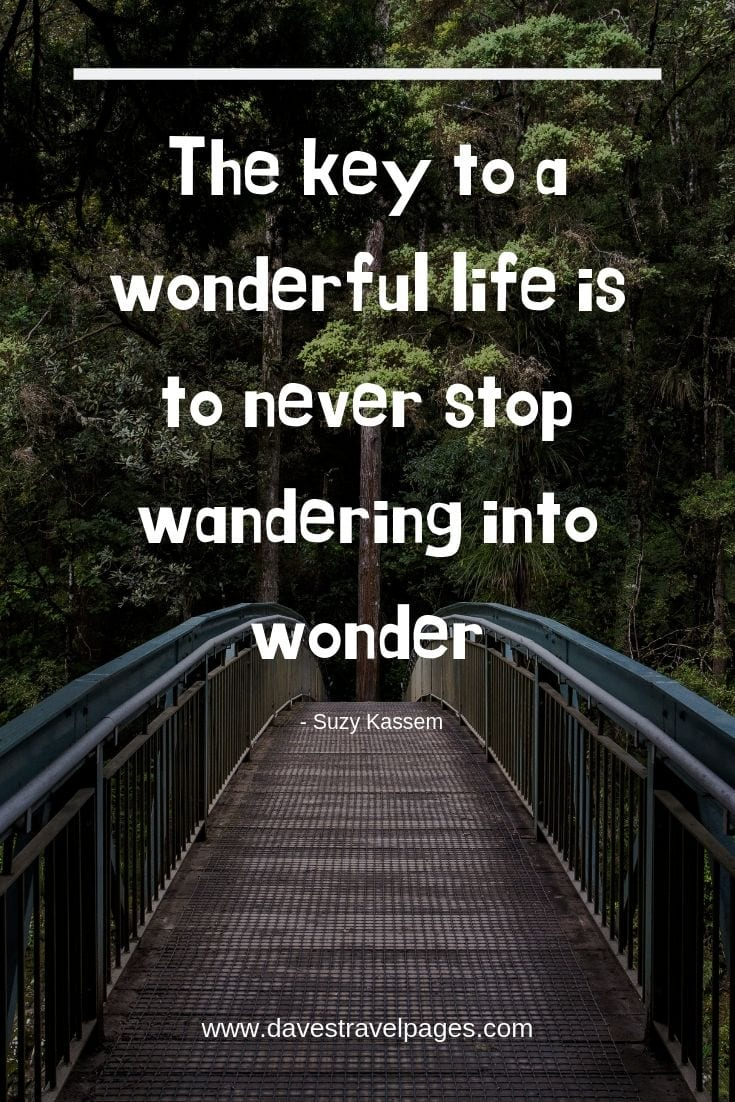 "Inspirational quotes - ""The key to a wonderful life is to never stop wandering into wonder."""