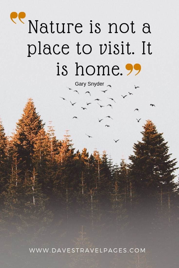 "Quotes about nature - ""Nature is not a place to visit. It is home."""