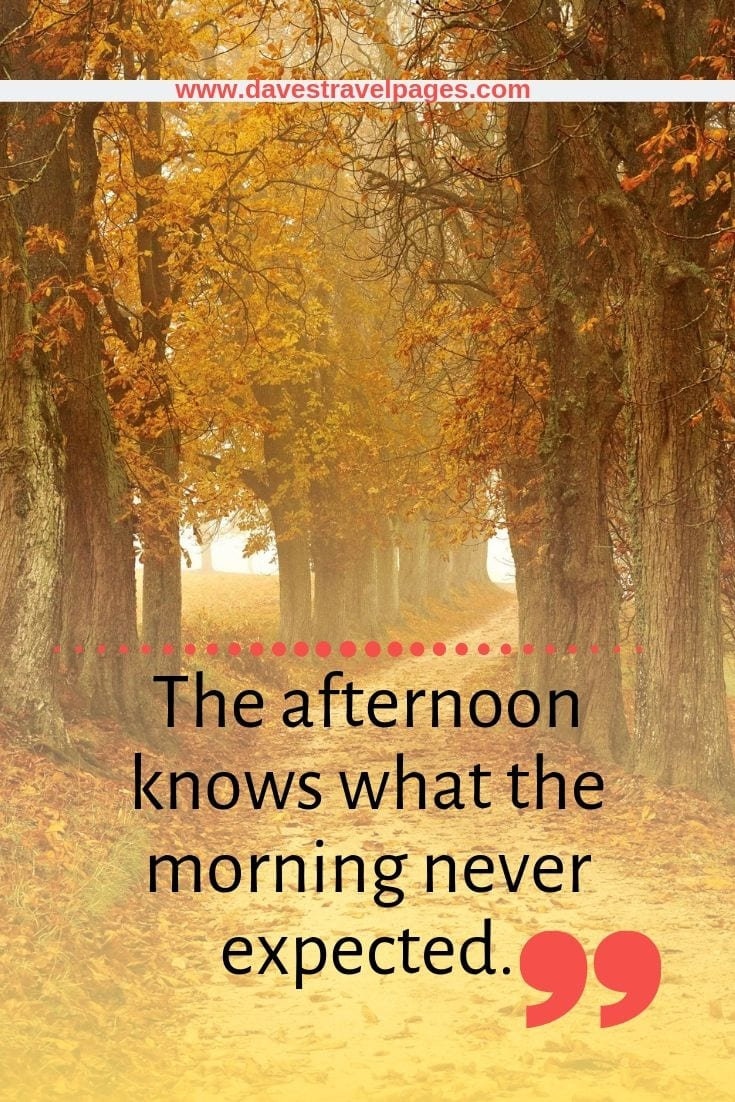 Inspiring Quotes: The afternoon knows what the morning never expected.