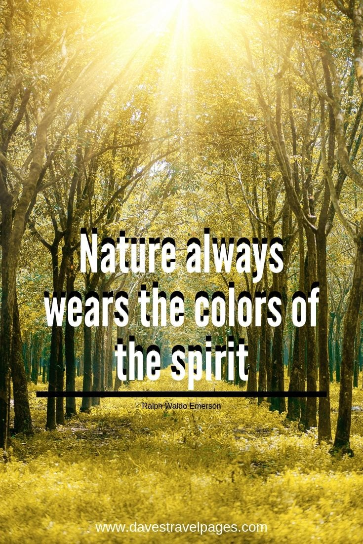 Nature and outdoor inspirational quotes - Nature always wears the colors of the spirit.