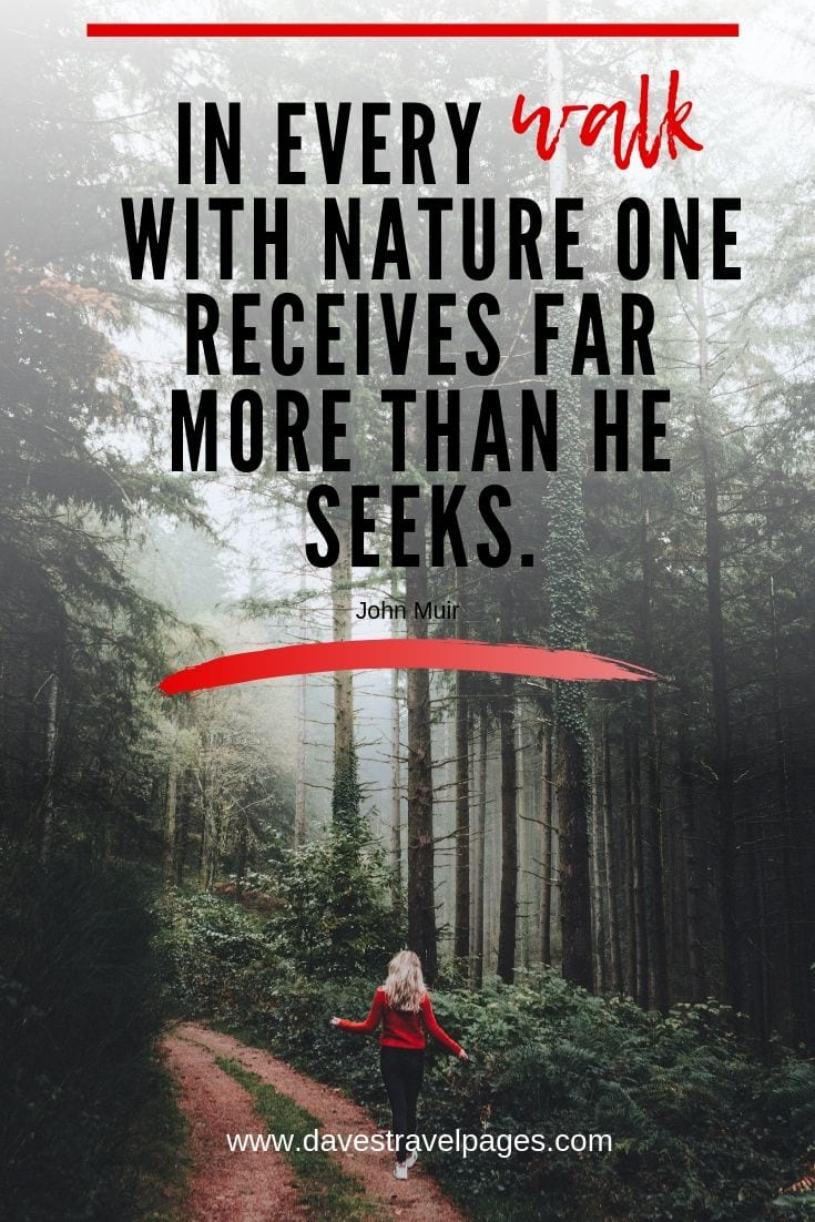 Outdoor Captions and Slogans: In every walk with nature one receives far more than he seeks.