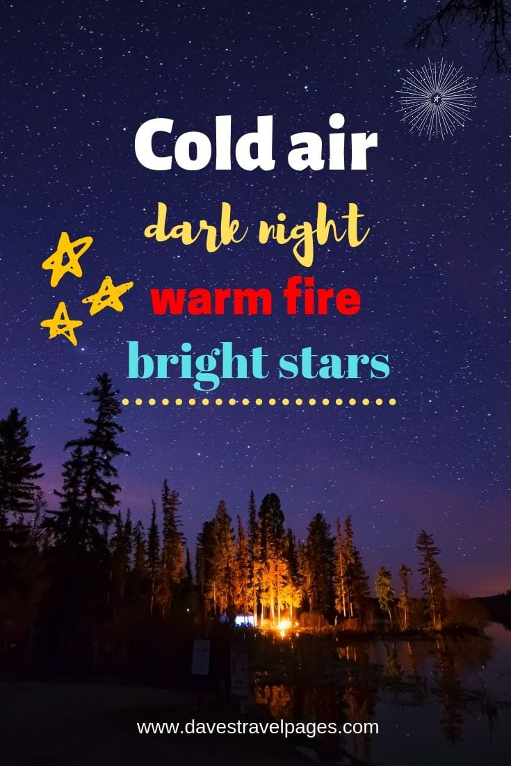 "Camp Fire Quotes - ""Cold air dark night warm fire bright stars."""