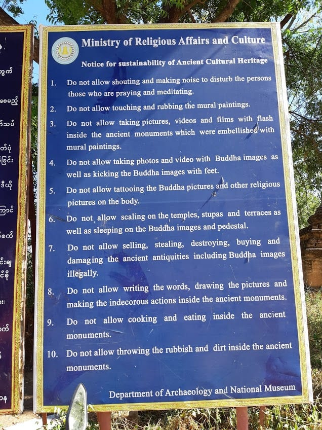 The rules of conduct for visiting the temples in Bagan
