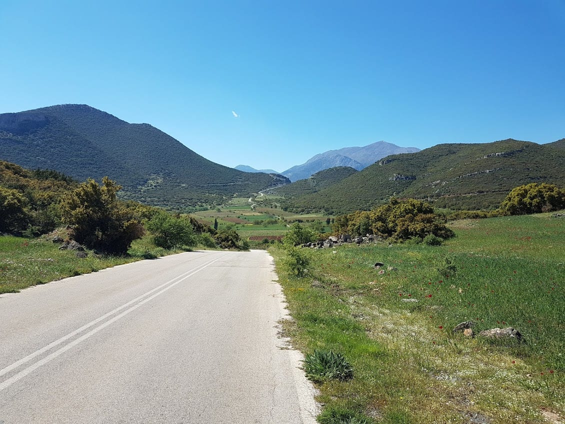 Cycling through the countryside of the Peloponnese in Greece