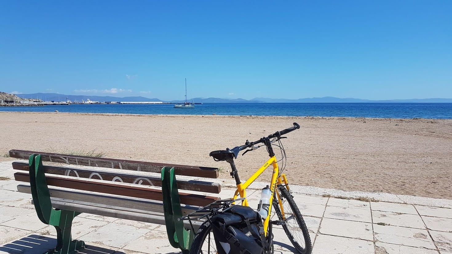 Cycling down to Rafina beach from Athens