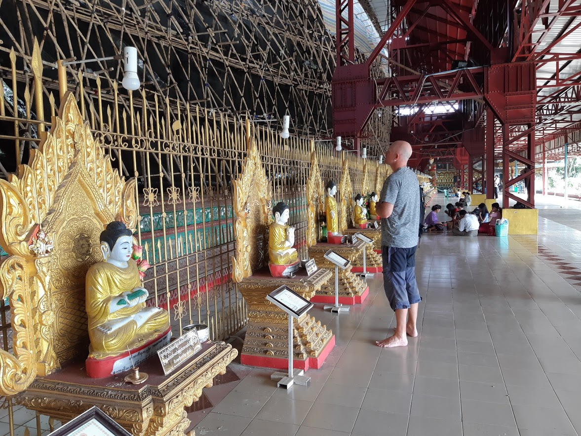 Dave at the Reclining Buddha in Yangon