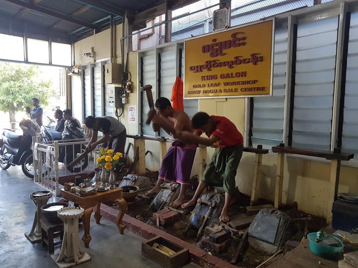 Gold leaf workshop in Mandalay Myanmar