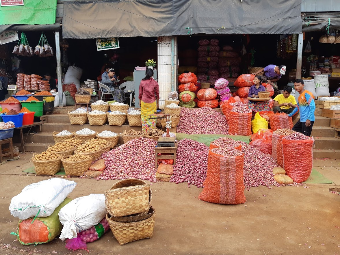 Piles of produce at the local market in Mandalay Myanmar