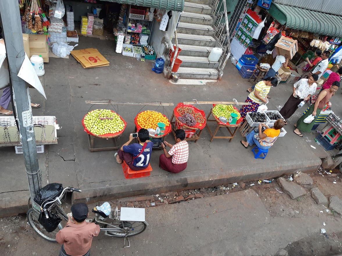 Looking down onto the streets of Myanmar