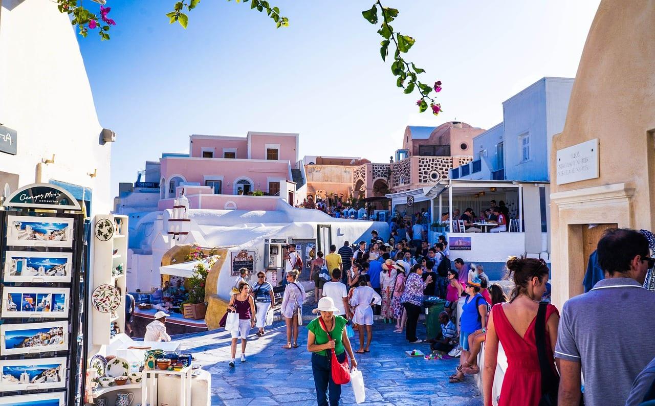 Tourist crowds in Santorini