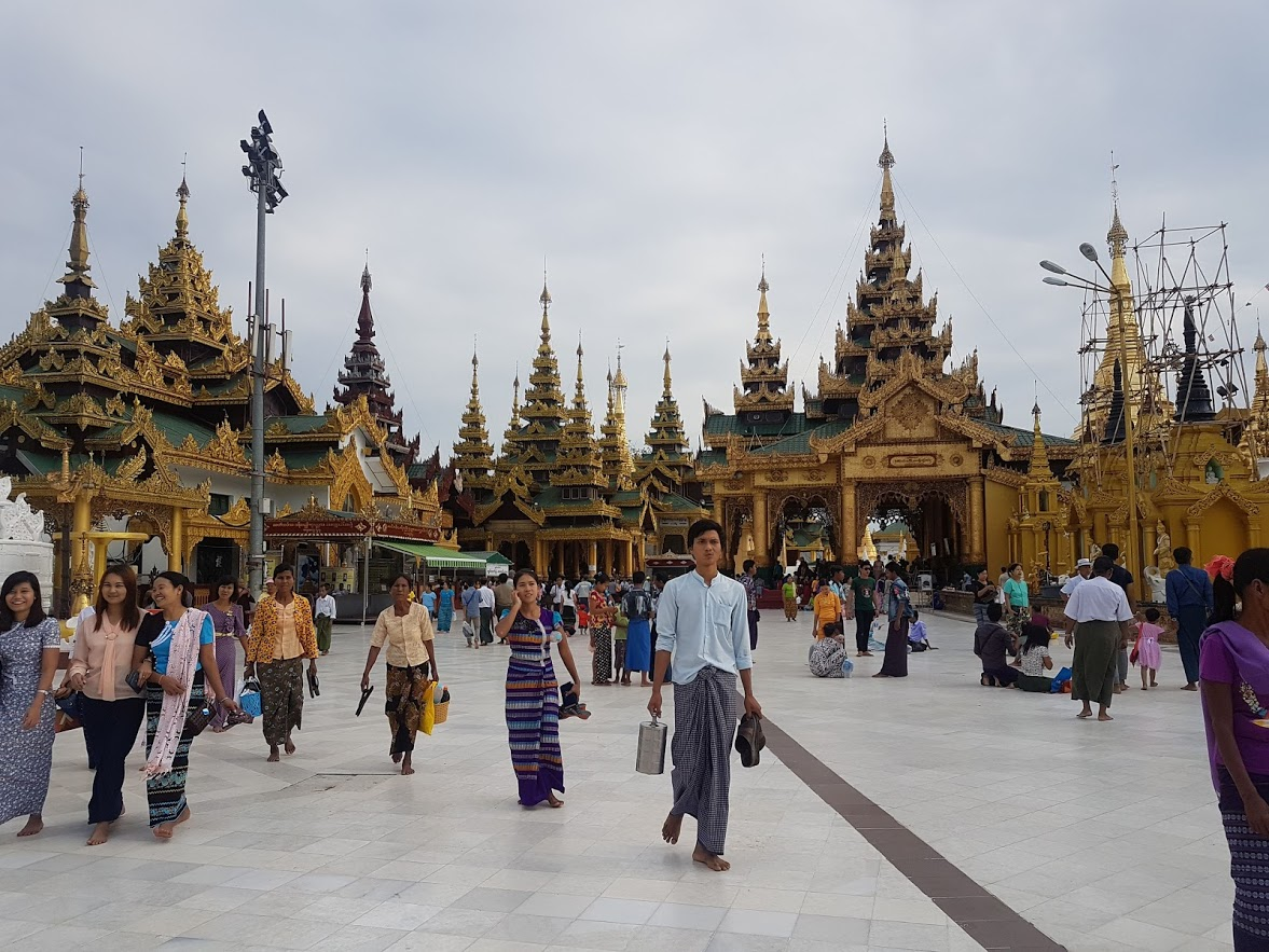 Visiting temples in Yangon Myanmar