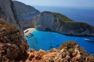 The Zakynthos beach shipwreck as seen from above