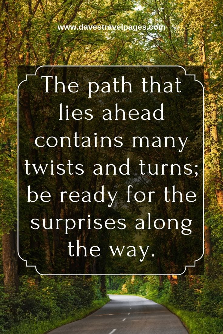 Journey Quotes and Captions: The path that lies ahead contains many twists and turns; be ready for the surprises along the way.