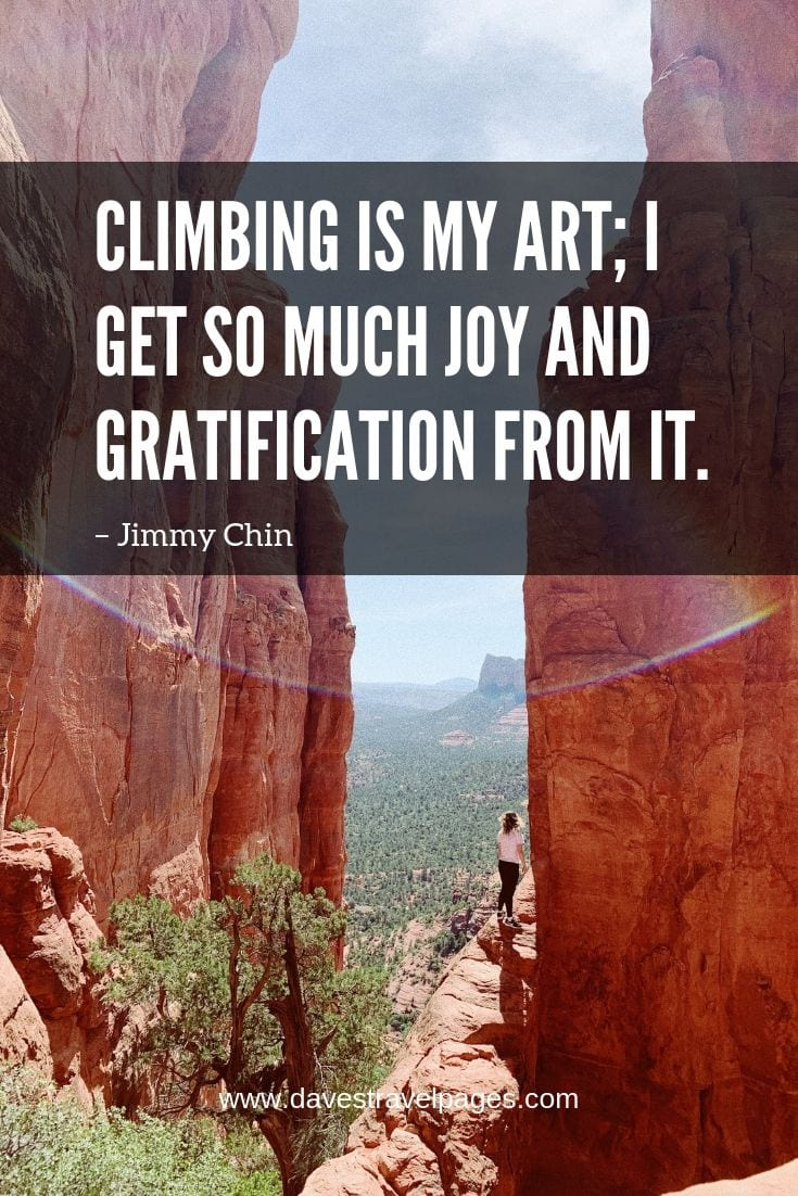 Top of the mountain quotes - Climbing is my art; I get so much joy and gratification from it.