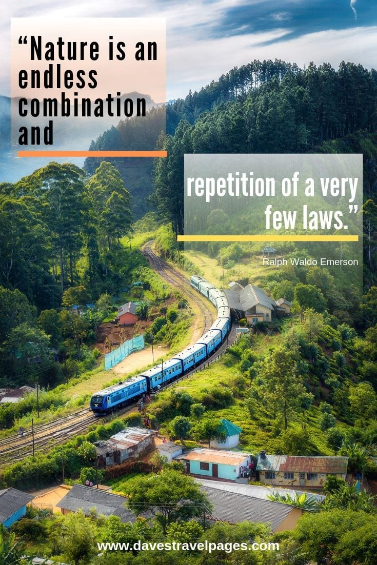 "Law of nature quotes: ""Nature is an endless combination and repetition of a very few laws."" – Ralph Waldo Emerson"