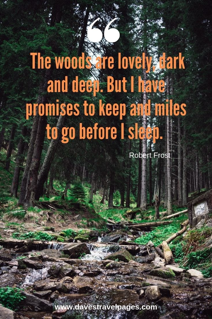 "Quotes about the woods and forests: ""The woods are lovely, dark and deep. But I have promises to keep and miles to go before I sleep. "" – Robert Frost"
