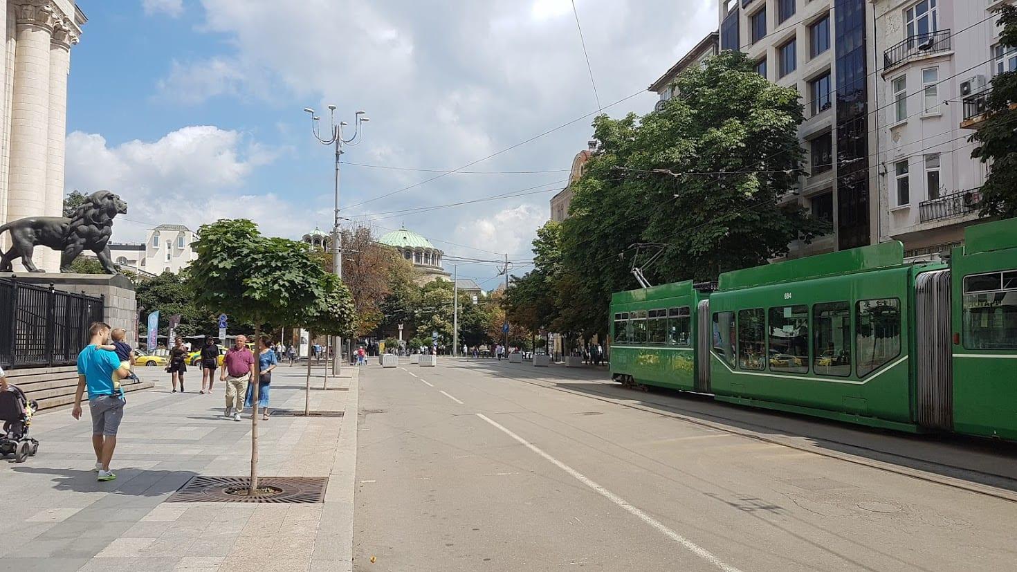 A tram rolling through Sofia city center