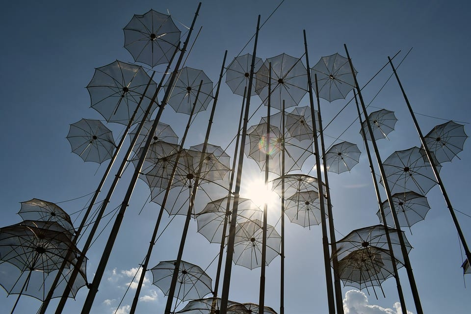 The famous umbrellas in Thessaloniki, Greece