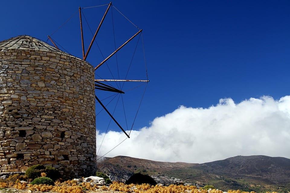 The windmills of Naxos Greece