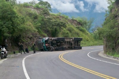 Crashed truck in Colombia