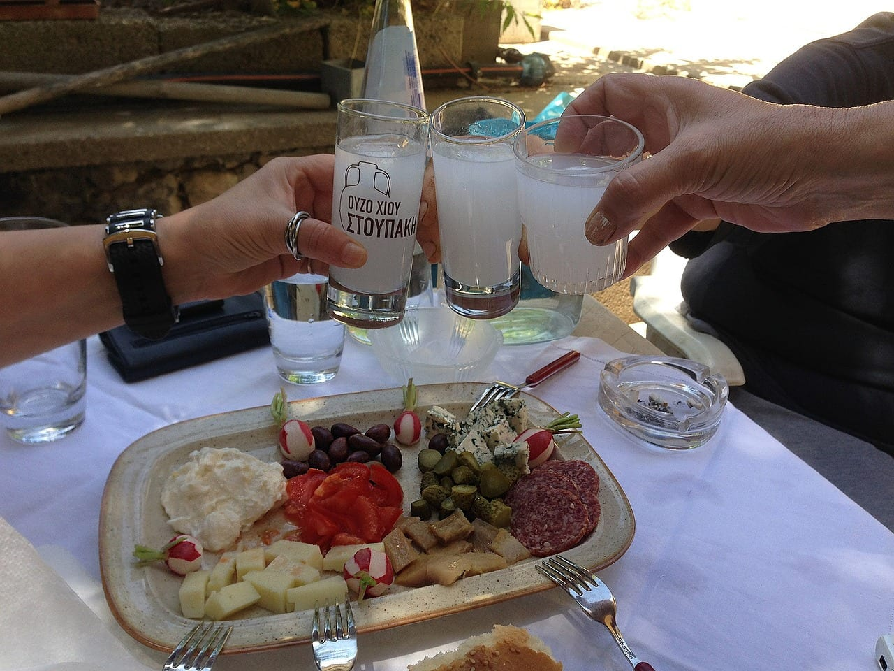 Drinking Ouzo in Greece