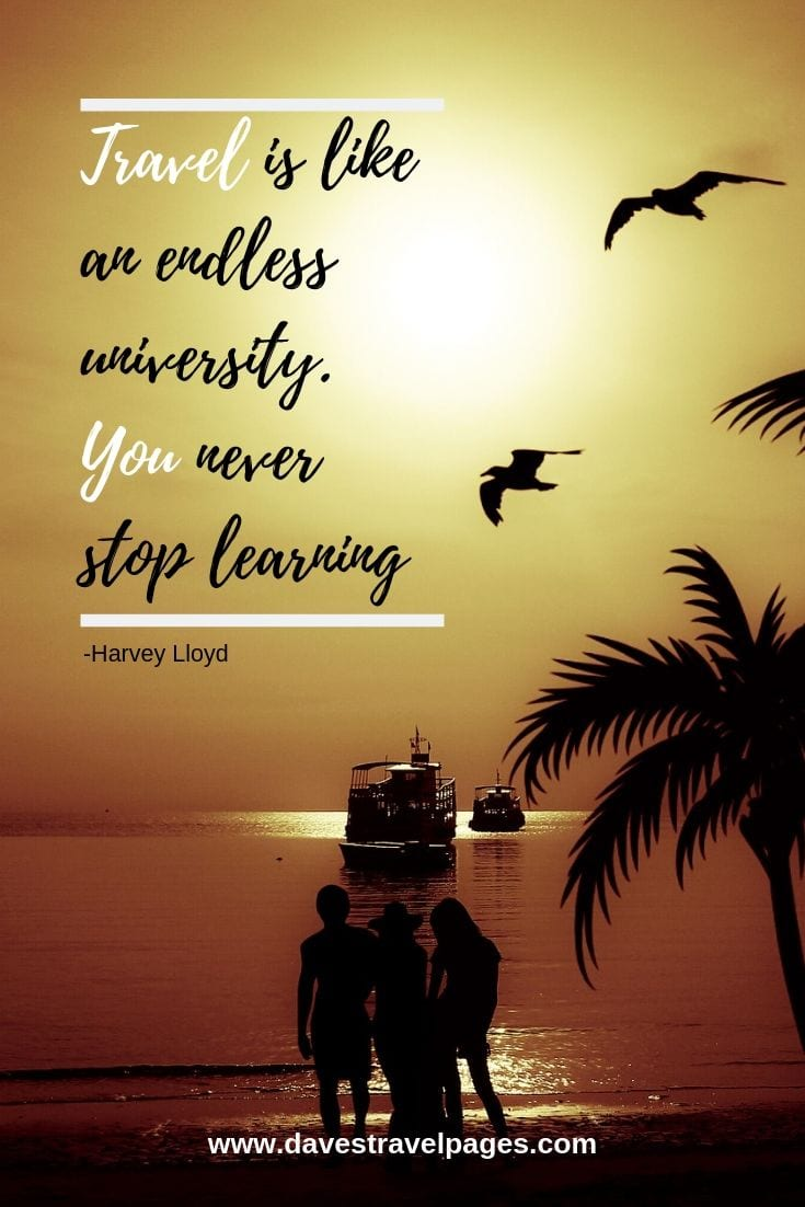 Travel Sayings: Travel is like an endless university. You never stop learning