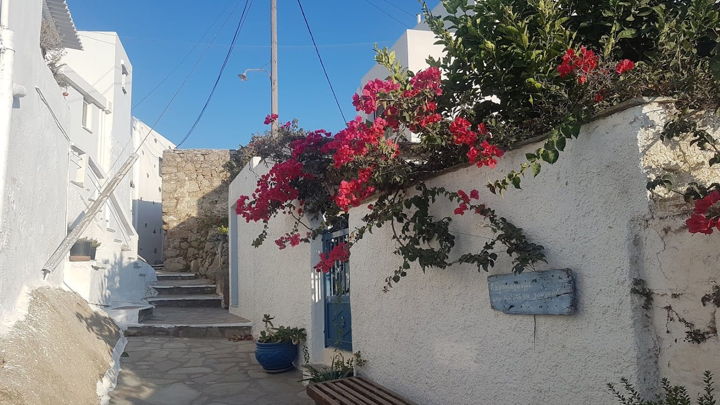 Walking through the quiet streets of Tinos