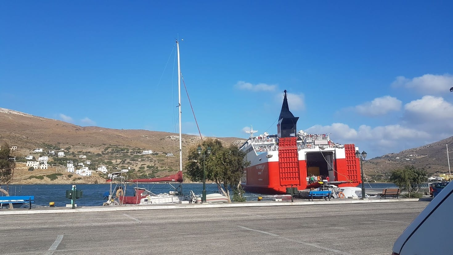 A Greek Ferry docking